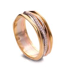 tricolor ring gold and diamonds engagement band wedding ring eternity