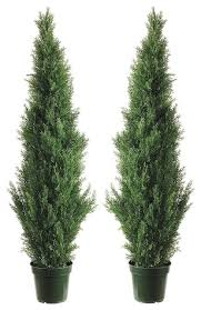 two 4 foot outdoor artificial cedar topiary trees uv potted