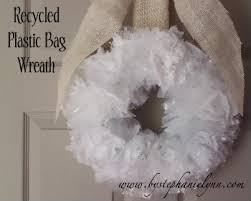 recycled plastic bag wreath earth day project bystephanielynn