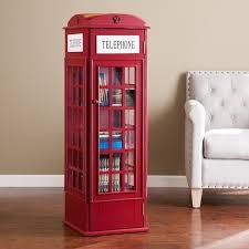 london phone booth bookcase harper blvd red phone booth media storage cabinet diy book shelf