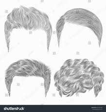 set different trendy mens hairstyles sketches stock vector