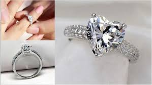 beautiful finger rings images Beautiful silver and platinum filled wedding heart ring with 3 jpg