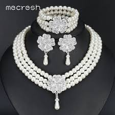 bridal earring necklace sets images Mecresh round imitated pearl dubai bridal jewelry sets statement jpg