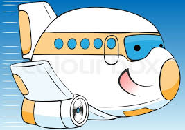 cartoon airplane isolated white background stock vector
