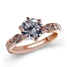 gold coloured rings images 1pcs sell zircon engagement rings for women rose gold color jpg