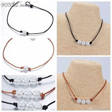 choker style pearl necklace images Handmade leather pearl necklace jewelry jpg