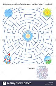 maze game or activity page for kids help the spaceship to fly to