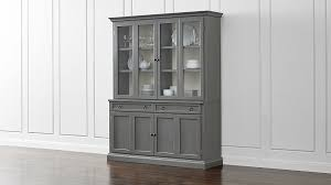 2 Piece China Cabinet Cameo 2 Piece Grey Glass Door Wall Unit Crate And Barrel