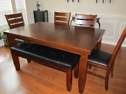 dining room table with bench seats leather wooden varnish black brown elegant