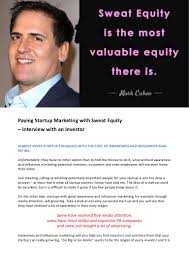 paying startup marketing with sweat equity u2013 interview with an invest u2026