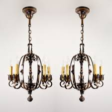 Antique Iron Chandeliers Two Matching Exquisite Antique Moe Bridges Wrought Iron