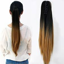 clip in ponytail neverland women clip in hair extension two tone ponytail