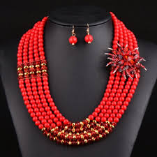 african wedding bead necklace images Red necklace and earrings set african wedding beads layer etsy jpg