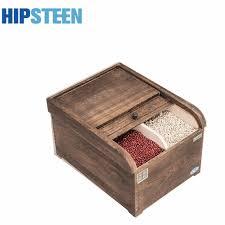 boites de rangement cuisine hipsteen durable en bois volets riz bac de rangement cuisine