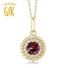 s day pendants gemstoneking 0 68 ct rhodolite garnet 18k yellow gold plated