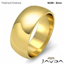 mens wedding bands gold solid 18k gold yellow dome mens wedding band high ring 8mm