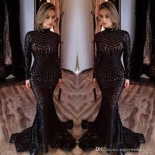 bling black sequined evening dresses 2017 high neck long sleeves