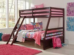 halanton dark brown twin full bunk bed with ladder
