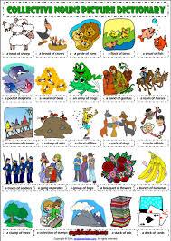 collective nouns esl picture dictionary worksheet esl printable