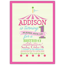 pink circus photo 1st birthday invitations paperstyle
