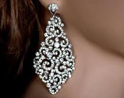 big diamond earrings big bridal earrings etsy