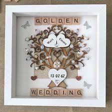 50th wedding anniversary gift handmade golden 50th wedding anniversary wooden heart gift for