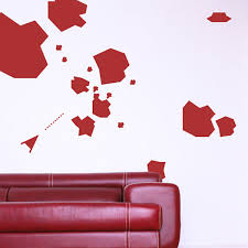 asteroids wall sticker set computer game wall stickers