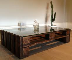 Wood Glass Coffee Table Large Pallet Wood And Glass Topped Coffee Table