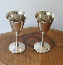 silver plated wine goblets fbr ep brass italy