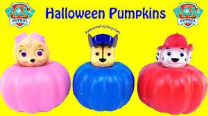 halloween pumpkins cartoons paw patrol skye chase marshall halloween pumpkins learn colors toy