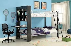 Twin Langley Silver And Gun Finish Metal Bunk Bed Bookcase - Metal bunk bed with desk