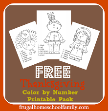 free thanksgiving color by number pack