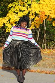 thanksgiving striped sweater metallic skirt grown and