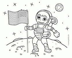 astronaut on the moon coloring pages with us flag for kids space