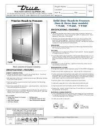 download free pdf for true t 72f freezer manual