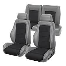 fox mustang seats mustang 03 04 cobra style upholstery smoke gray vinyl black suede