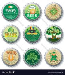 st patrick u0027s day bottle caps royalty free vector image