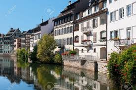 beautiful old houses of strasbourg and their reflection in the