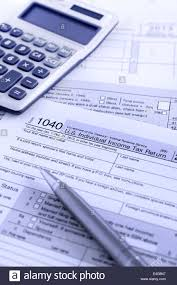 united states federal income tax return irs 1040 documents stock