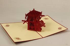 handmade 3d pop up cards asian style bridal sedan