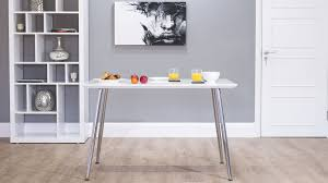 small white dining table white gloss dining table kitchen slanted chrome legs uk
