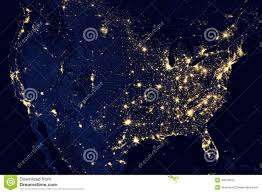 World Map At Night by Usa City Lights Visible Geography Stock Photo Image 48879234