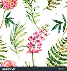 wild flowers in wild meadows watercolor garden flowers seamless pattern wild stock illustration
