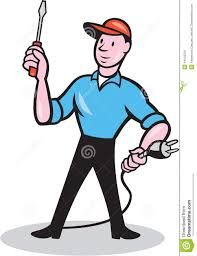 Tiny House Cartoon Electrician Holding Screwdriver Plug Cartoon Stock Vector Image