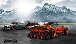 nissan gtr drag car artist creates 2015 honda nsx super gt race car pits it against