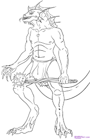 how to draw lizardmen step by step greek mythology mythical
