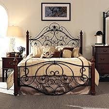 Wood And Metal Bed Frame Size Antique Style Wood Metal Wrought Iron Look