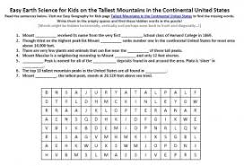 tallest mountains in the continental united states worksheet