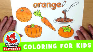 orange coloring page for kids maple leaf learning playhouse