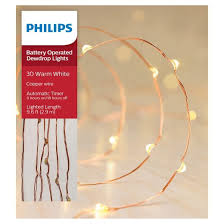 philips 30ct christmas battery operated led dewdrop fairy string